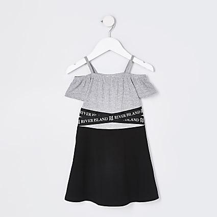 Mini girls black bardot skater dress