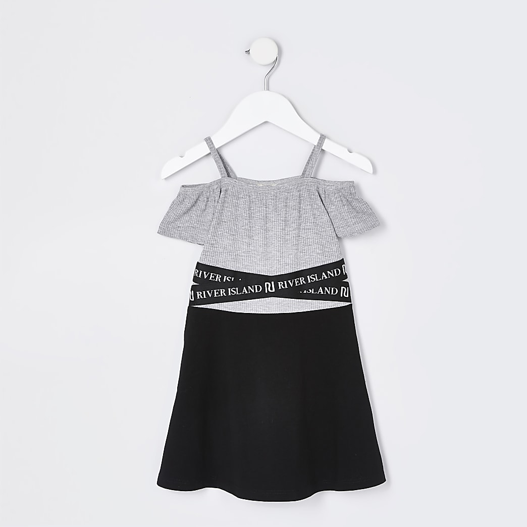Mini girls black bardot skater dress