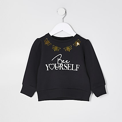 Mini girls black 'Bee yourself' sweatshirt