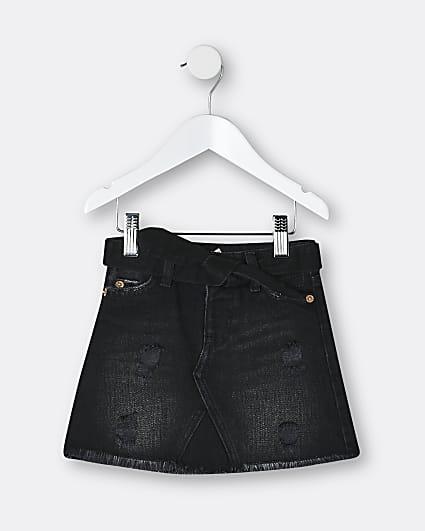 Mini girls black belted denim skirt