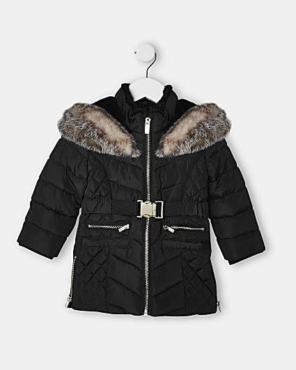Mini girls black belted quilted puffer coat