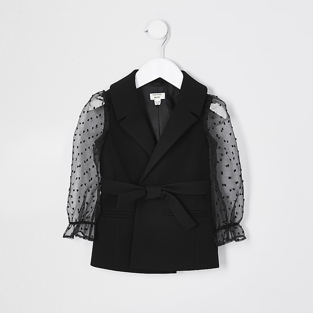 Mini girls black bobby organza sleeve blazer