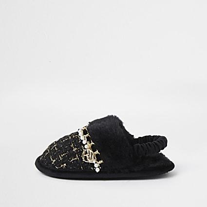 Mini girls black boucle slippers