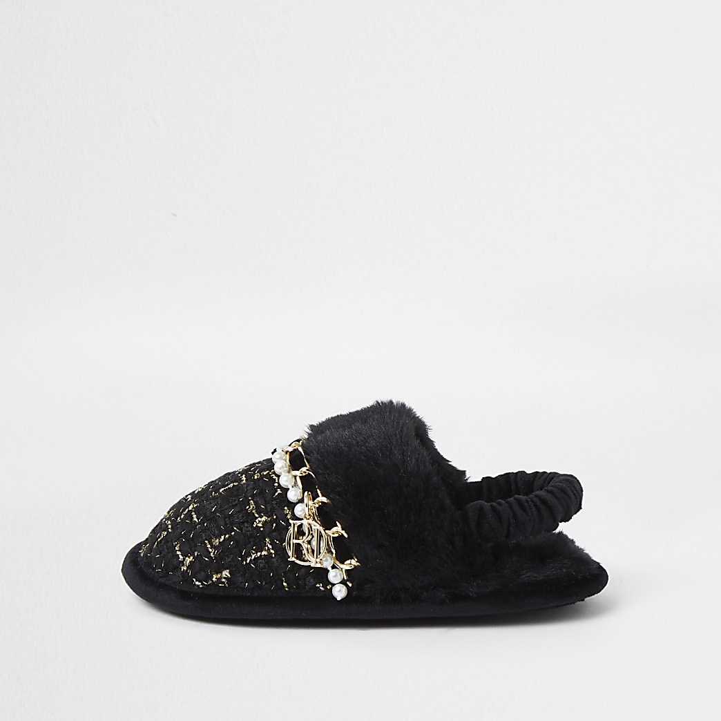 Mini girls black boucle slippers