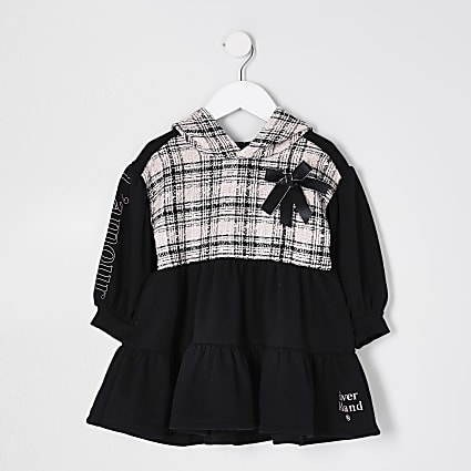 Mini girls black boucle tiered sweat dress
