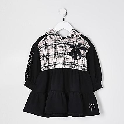 Mini girls black boucle tiered sweat dress