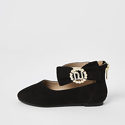 Mini girls black bow ballerina pumps