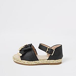 Mini – Schwarze Esparilles-Sandalen mit Schleife für Mädchen