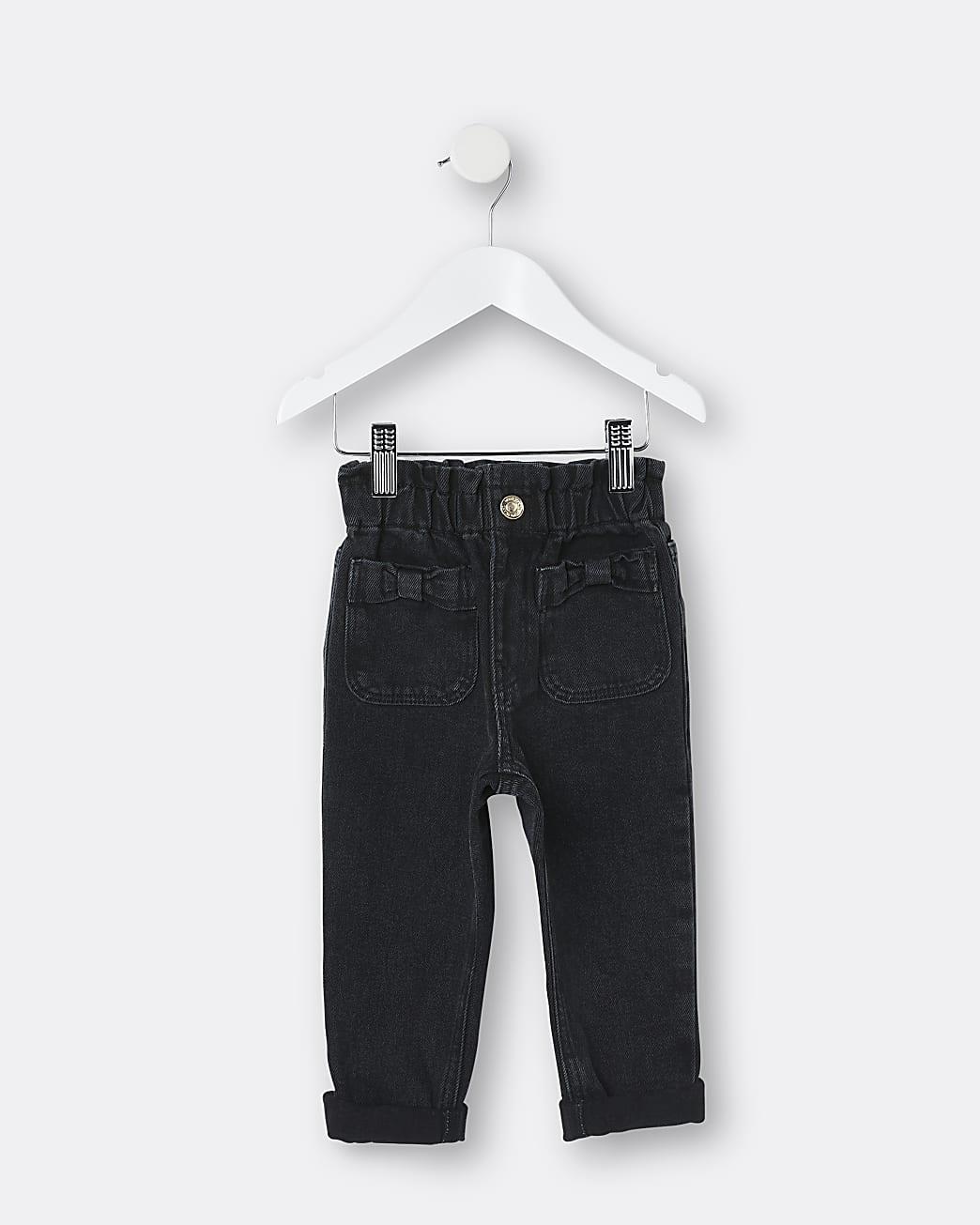 Mini girls black bow pocket paper bag jeans