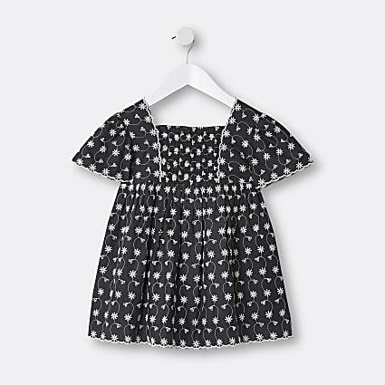 Mini girls black broderie dress