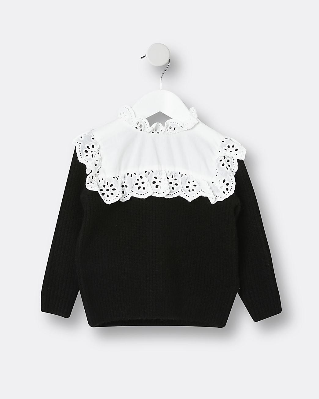 Mini girls black broderie jumper