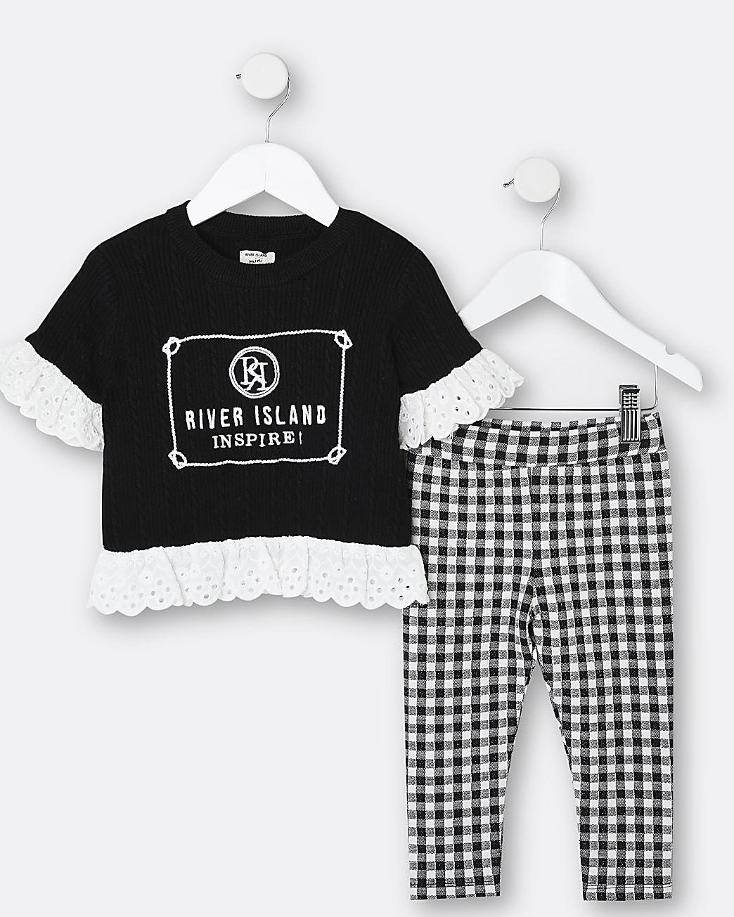 Mini girls black broderie trim t-shirt outfit