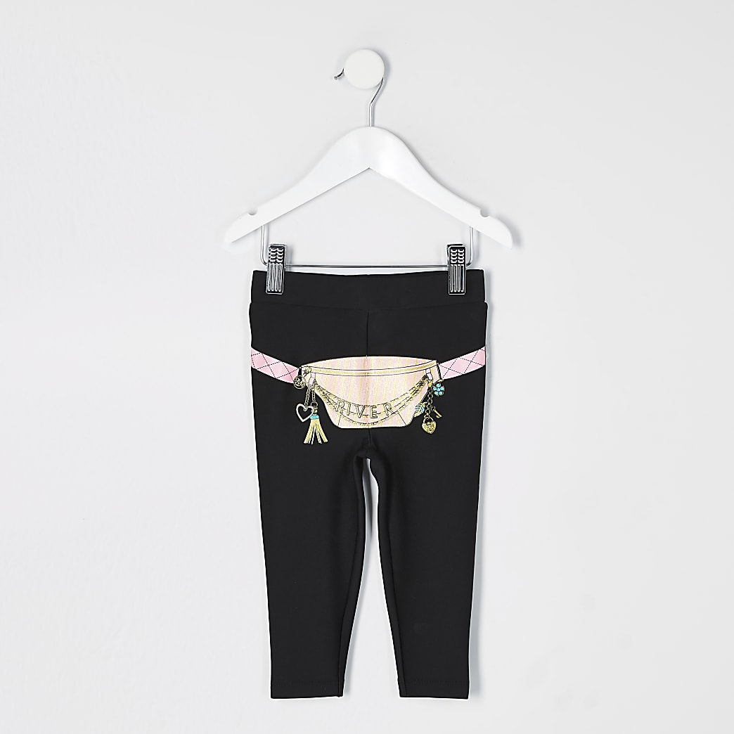 Mini girls black bumbag printed leggings