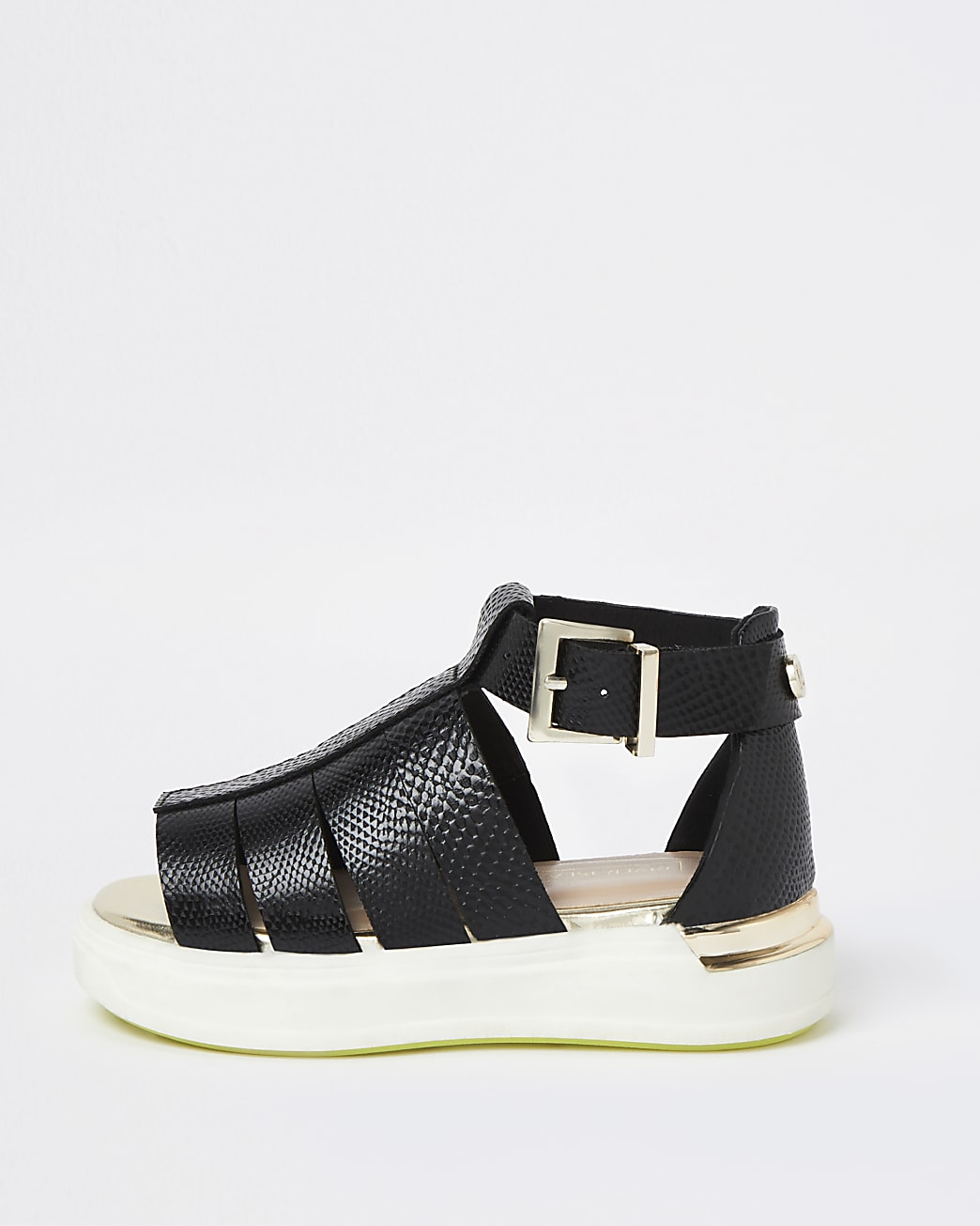 Mini girls black caged sandals