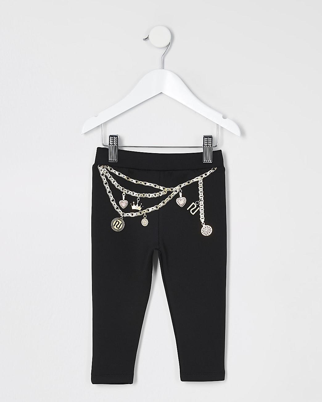 Mini girls black chain printed legging