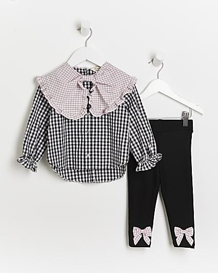 Mini girls black check collar shirt outfit