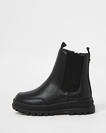 Mini girls black cleated boots