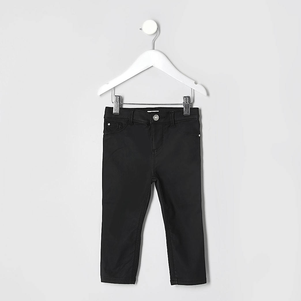 Mini girls black coated Molly jeggings