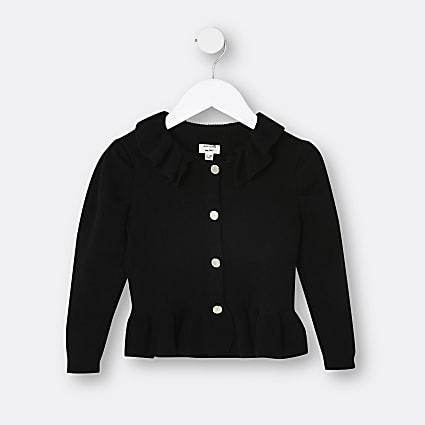 Mini girls black collar peplum cardigan