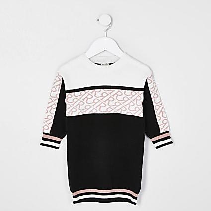 Mini girls black colour block jumper dress