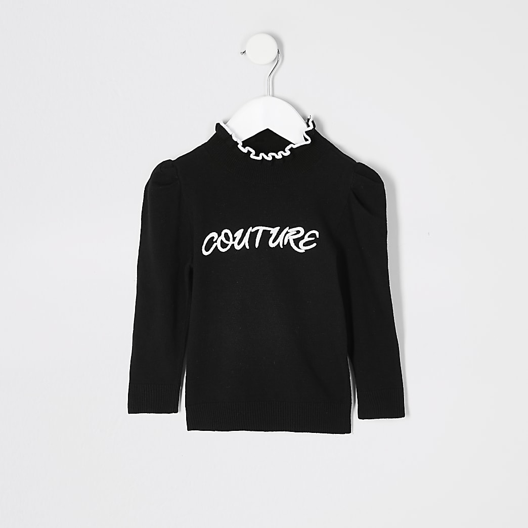Mini girls black 'Couture' knitted jumper