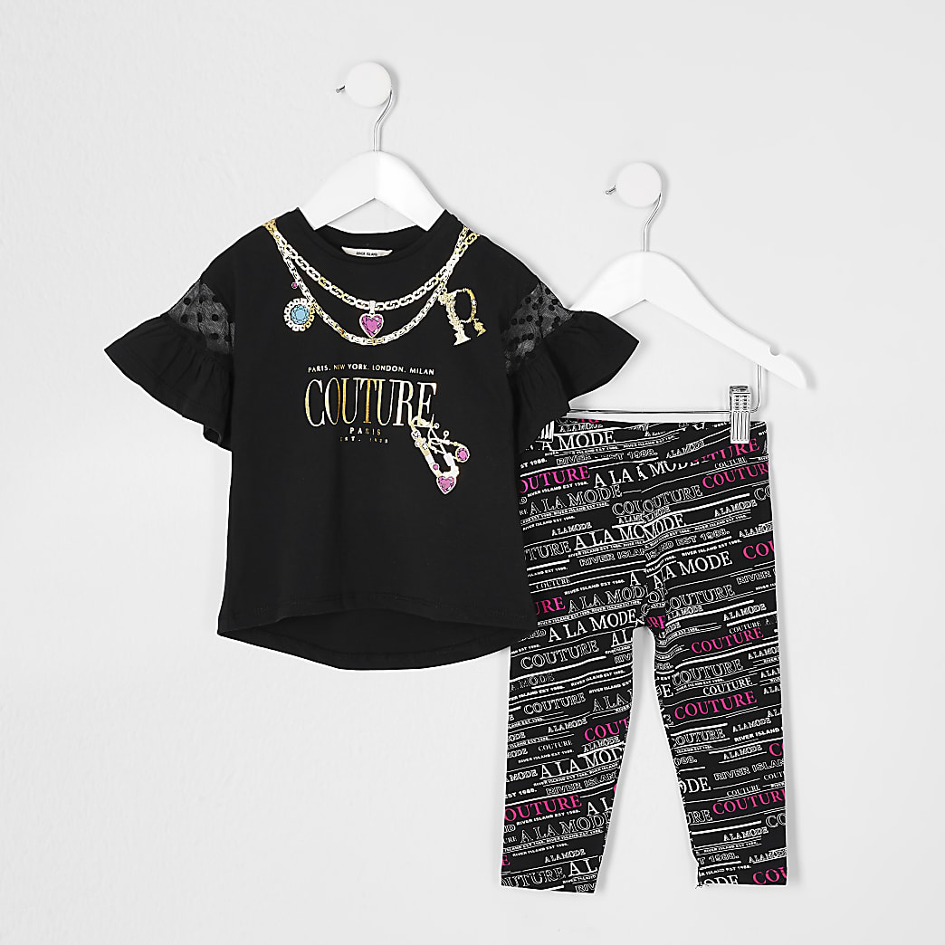 Mini girls black 'couture' t-shirt outfit