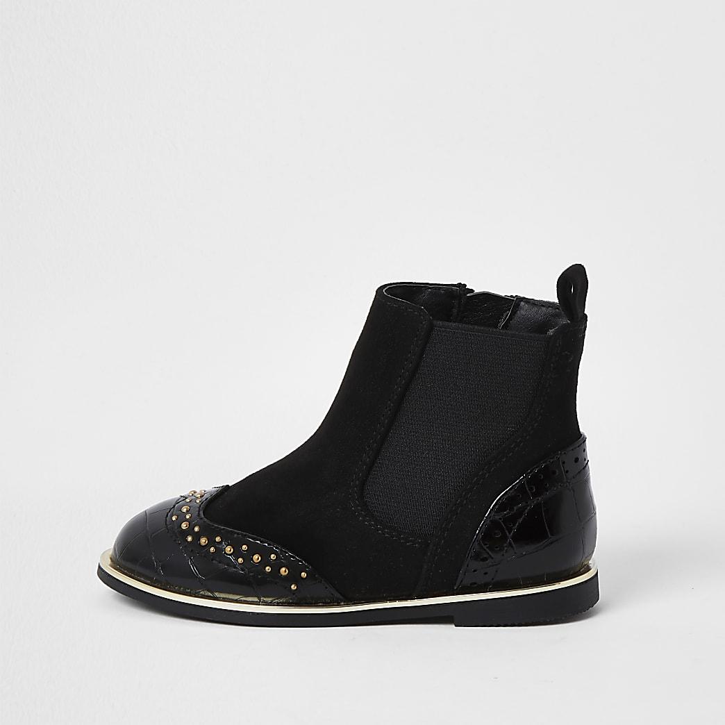 Mini girls black croc stud flat boots
