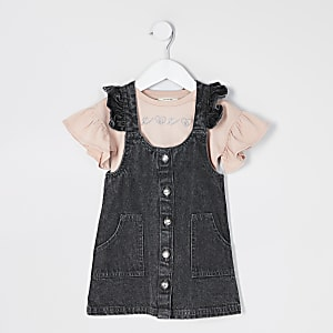 Mini girls black denim pinafore dress outfit