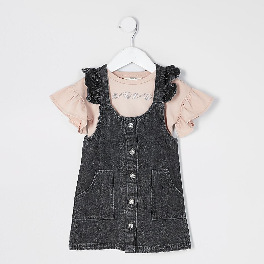 Mini girls black denim pinafore dress outfit