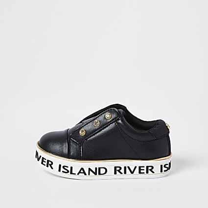 Mini girls black diamante eyelet plimsoles