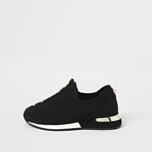 Mini girls black diamante pull on trainers