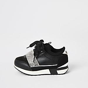 Mini - Zwarte sneakers met siersteentjes voor meisjes