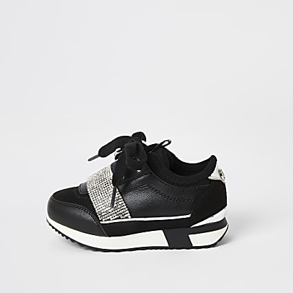 Mini girls black diamante runner trainers