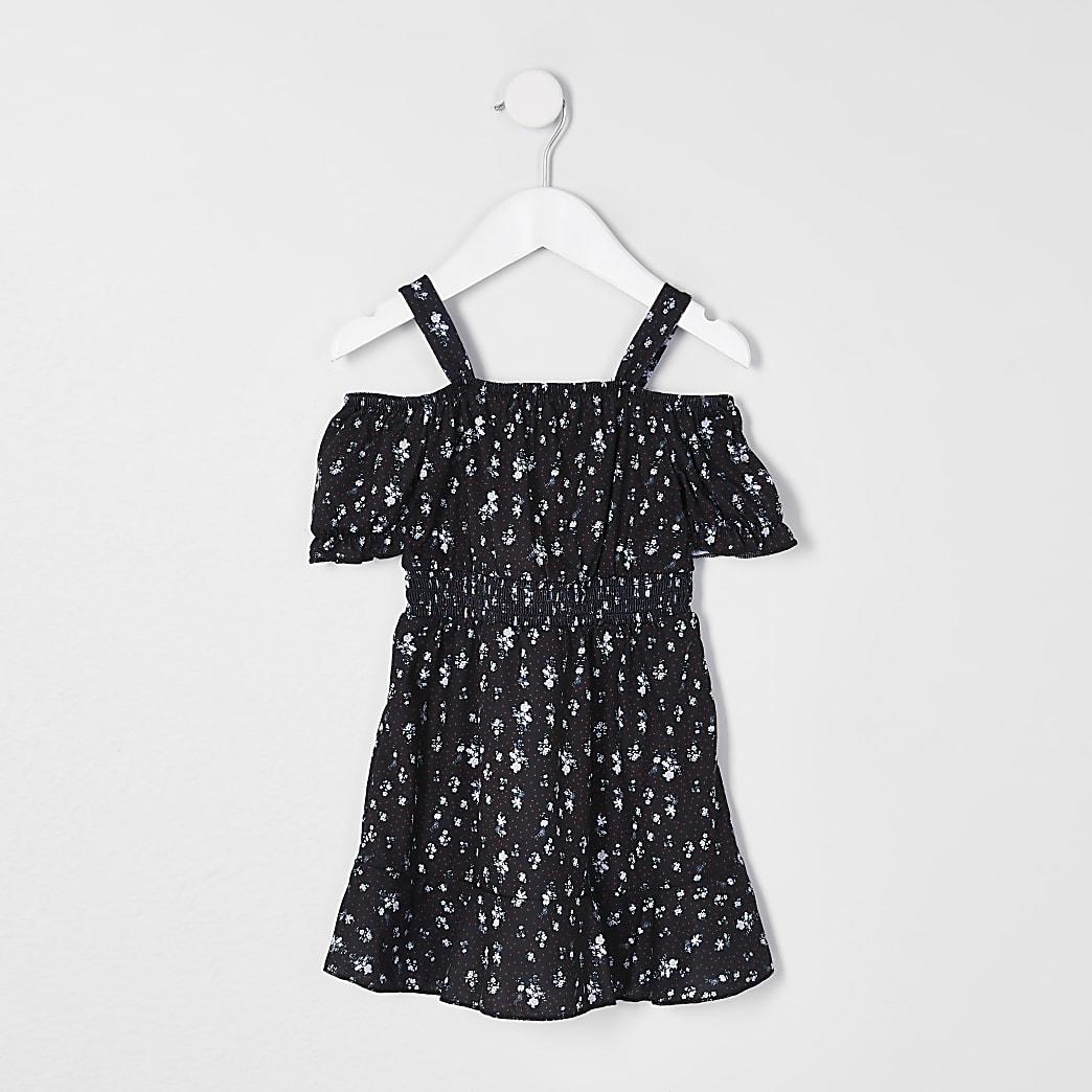 Mini girls black ditsy print bardot dress
