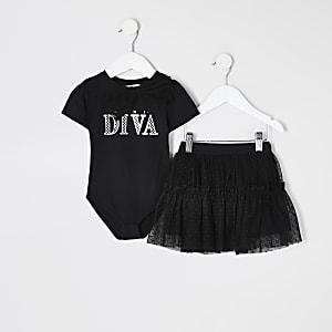"Mini – Schwarzes Body-Outfit mit ""Diva""-Print"