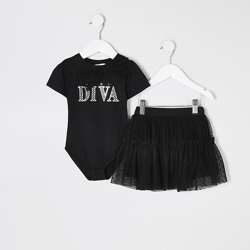 Mini - Zwarte bodysuit-outfit met strik en 'Diva'-print voor meisjes