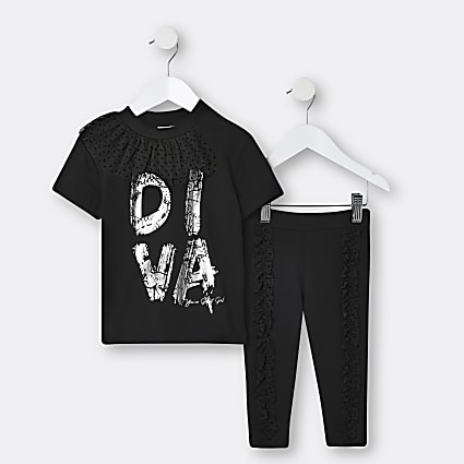 Mini girls black 'Diva' mesh collar top set