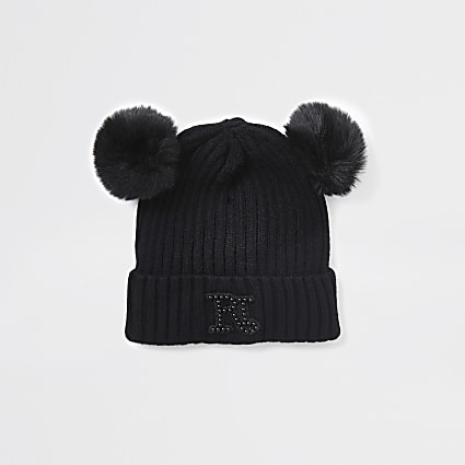 Mini girls black double pom pom beanie hat