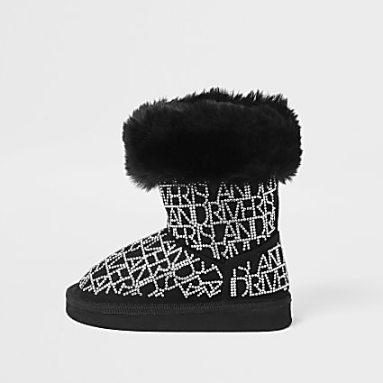 Mini girls black embellished faux fur boots