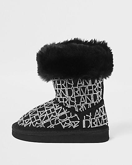 Mini girls black embellished faux fur boots