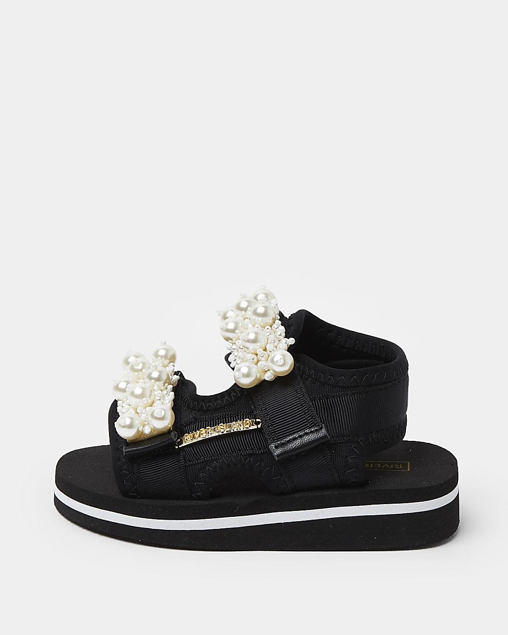 Mini girls black embellished sandals