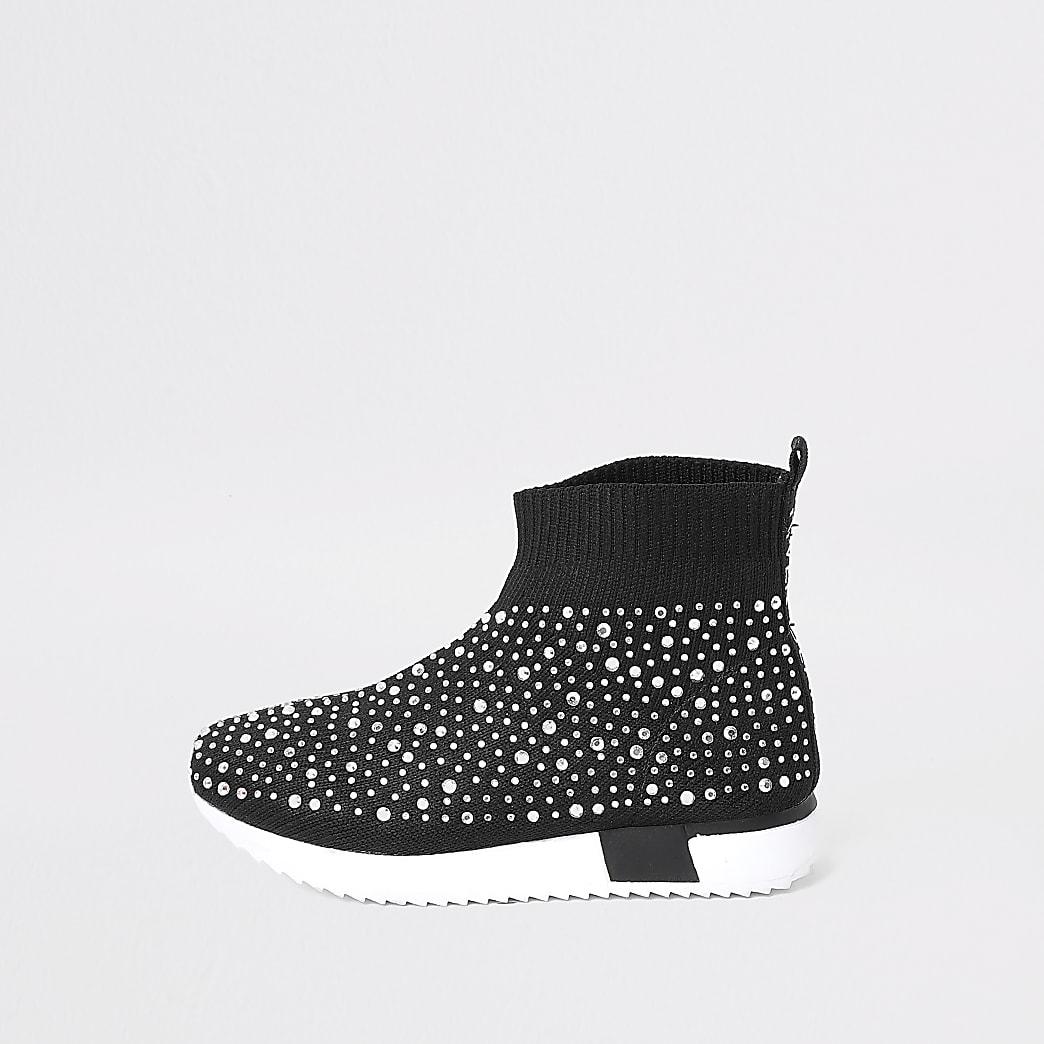 Mini girls black embellished sock trainer