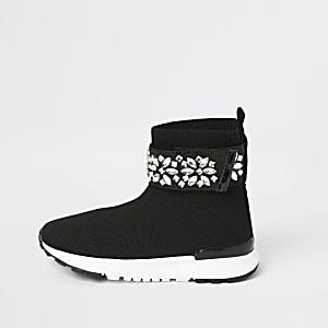 Schwarze Sock-Sneaker mit Strass für kleine Mädchen