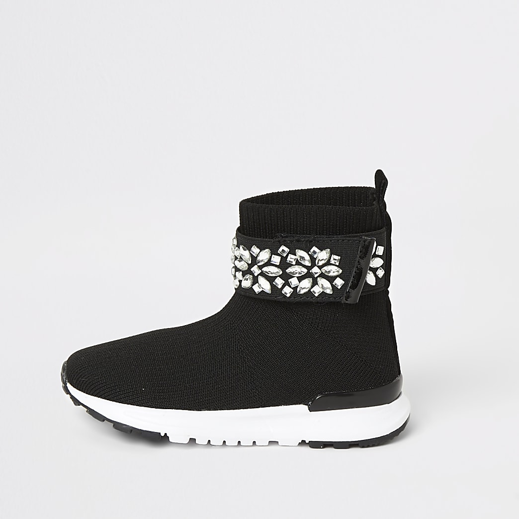 Mini girls black embellished sock trainers