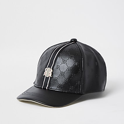 Mini girls black embossed RI monogram cap