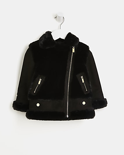 Mini girls black faux fur aviator coat