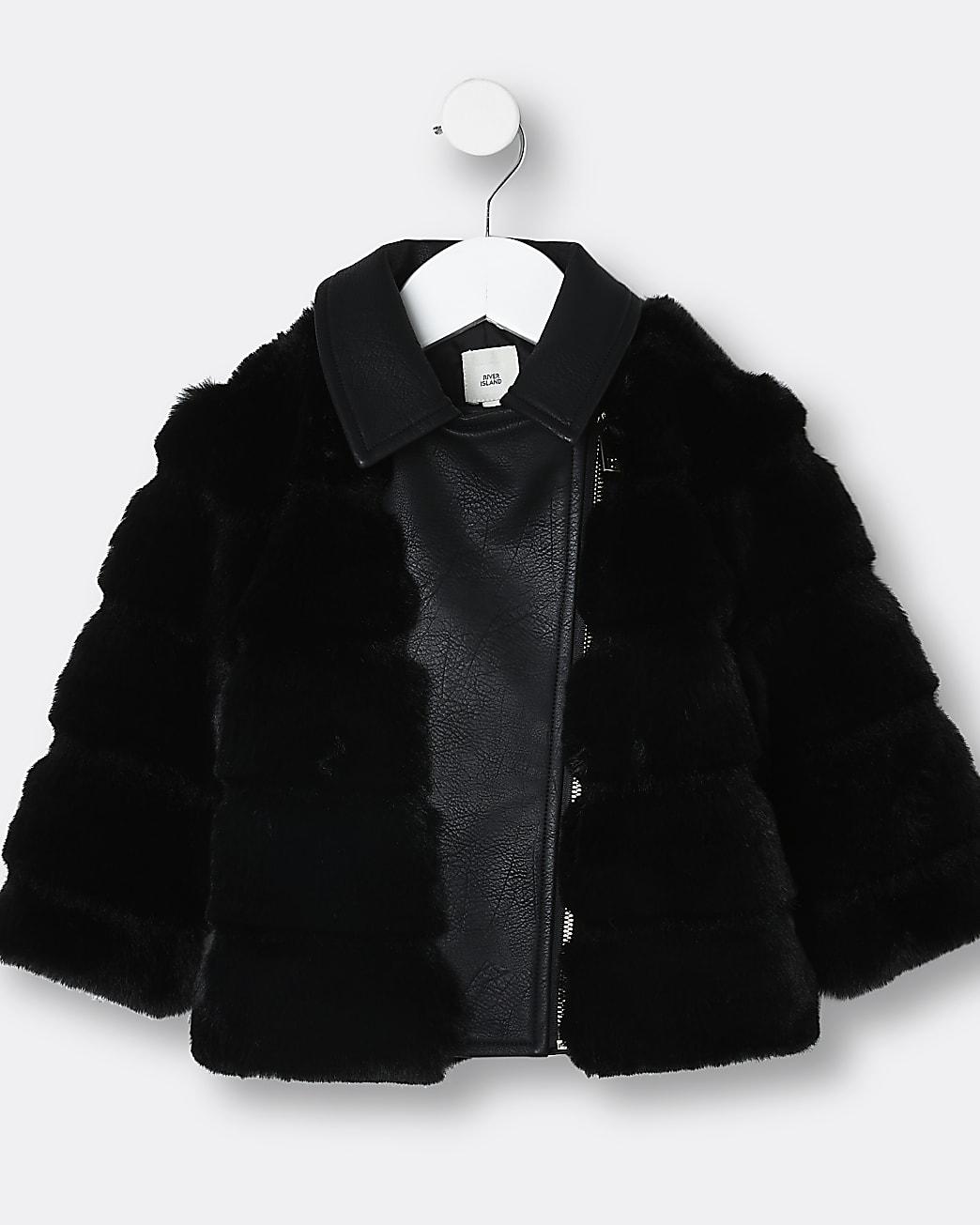 Mini girls black faux fur biker jacket