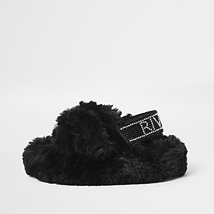 Mini girls black faux fur bling strap slipper