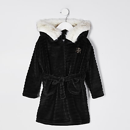 Mini girls black faux fur cosy dressing gown