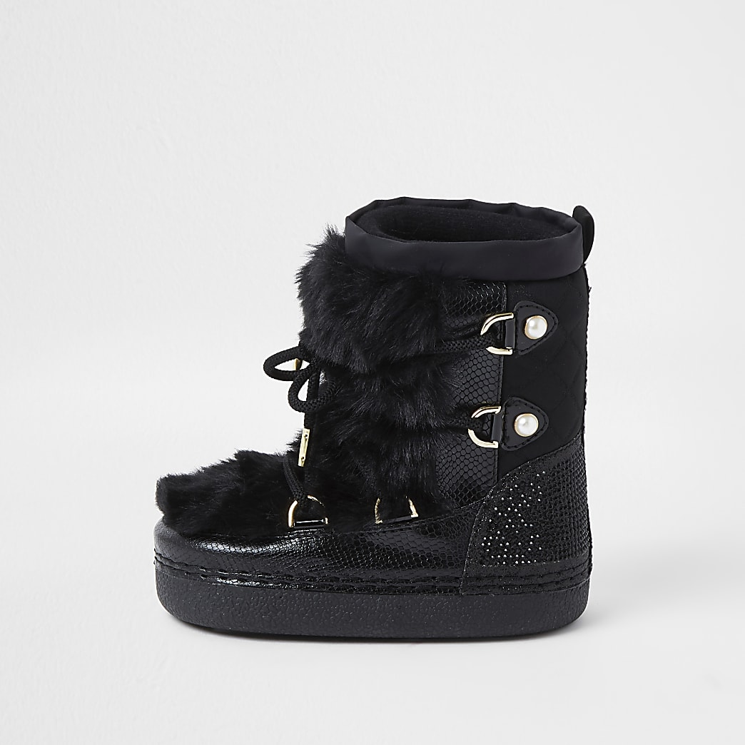 Mini girls black faux fur diamante snow boots